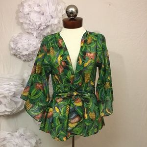 Vintage 70's bell sleeve wrap top tropical bird S